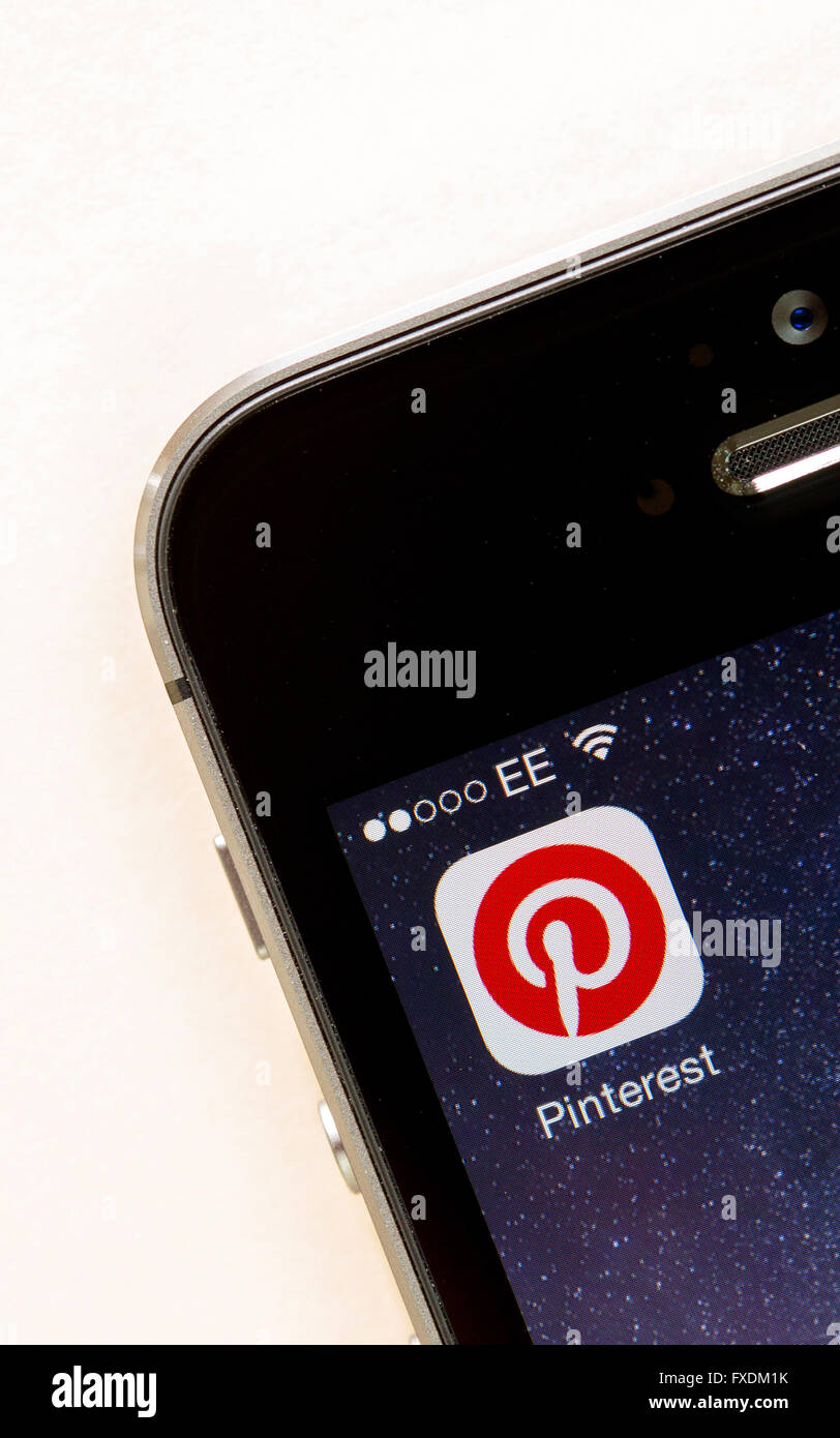 Pinterest App on a mobile phone - Stock Image