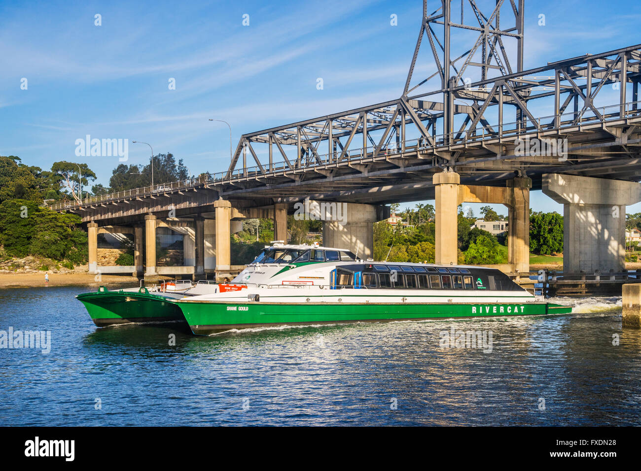 Australia, Sydney, Parramatta River, RiverrCat catamaran vessel 'Shane Gould' of passing under the Ryde - Stock Image