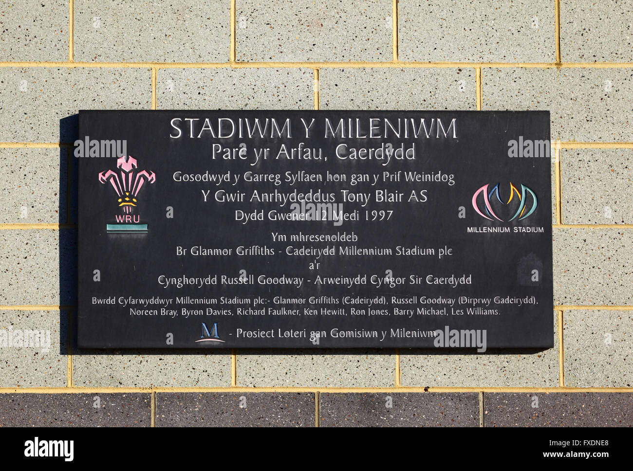Plaque in Welsh commemorating the laying the foundation stone of the Millennium Stadium, Cardiff, Wales, United Stock Photo