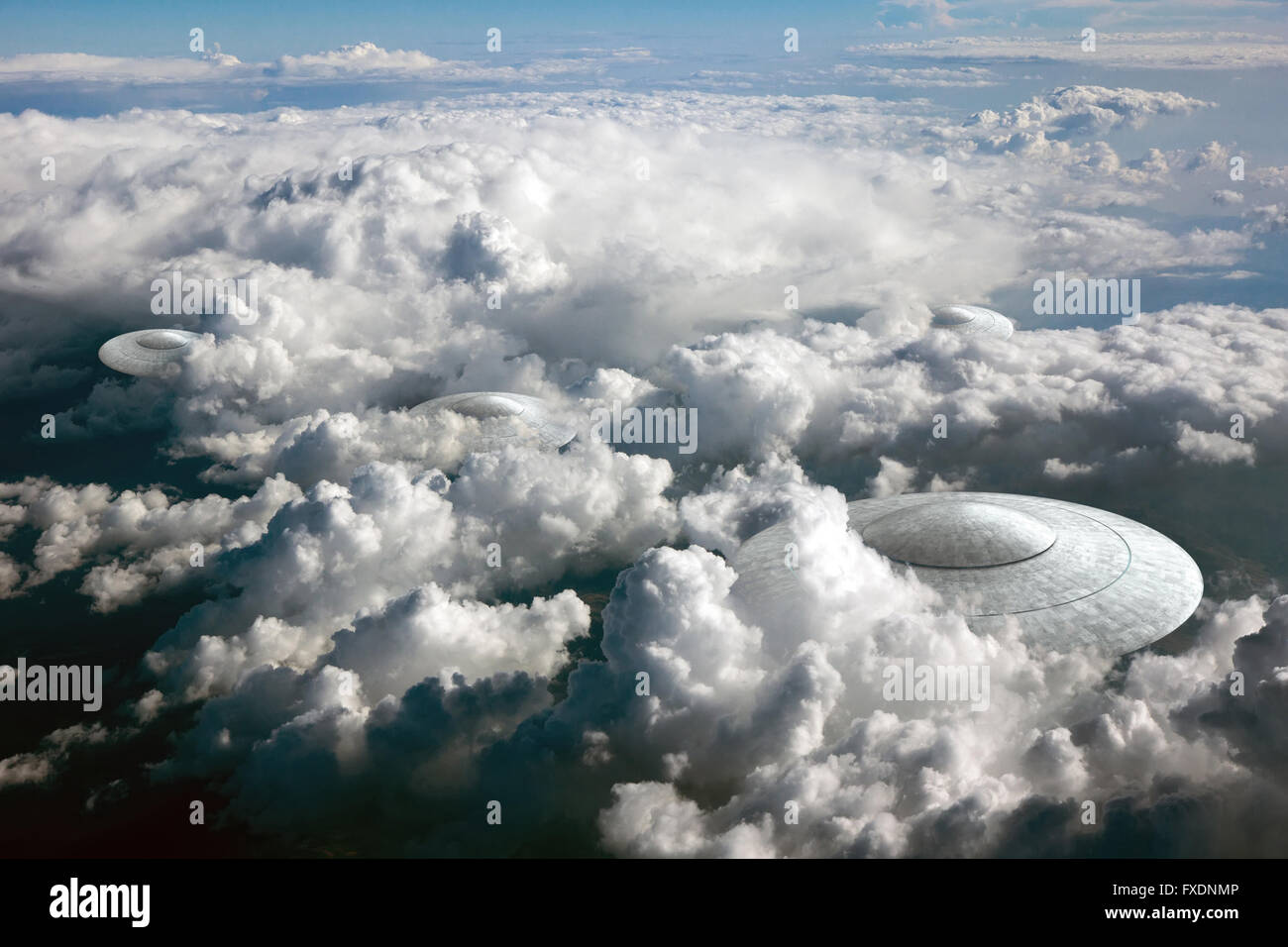3d rendering of flying saucer ufo in the clouds - Stock Image