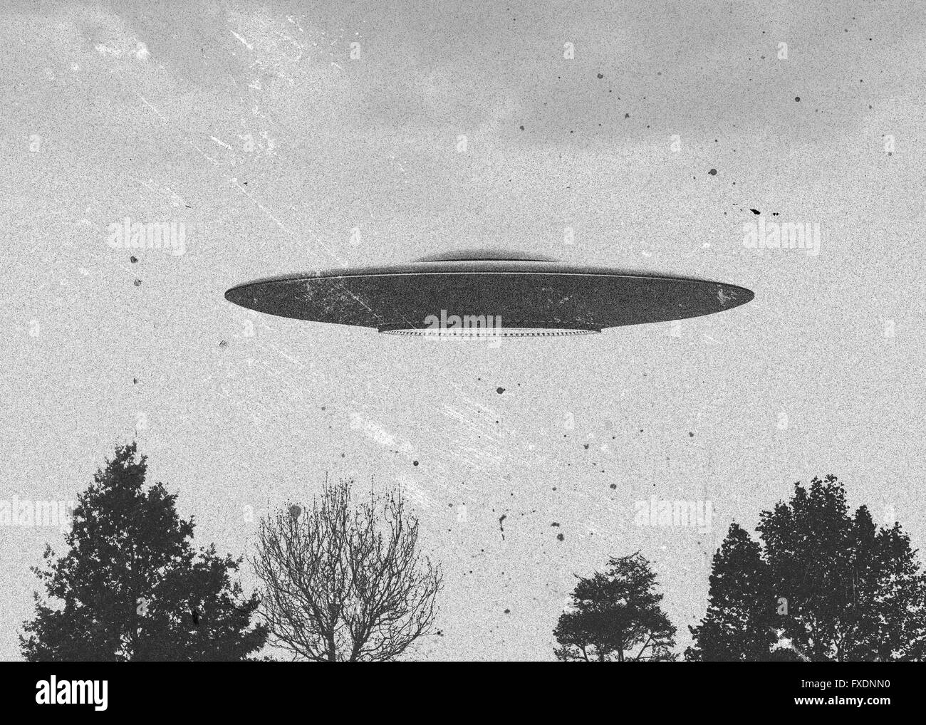 3d rendering of flying saucer ufo vintage style - Stock Image