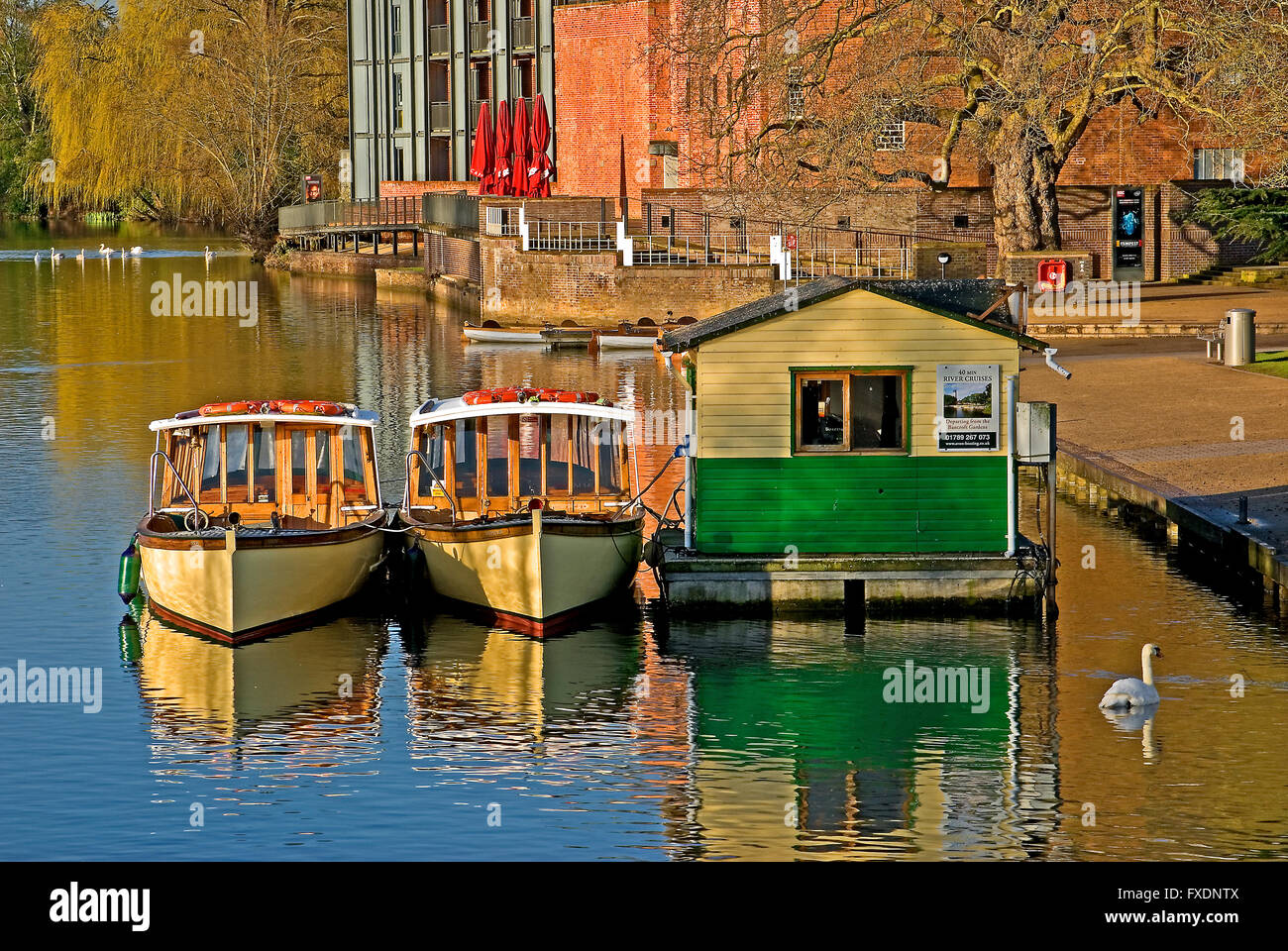 Tourist boats moored on the River Avon in the centre of Stratford upon Avon, Warwickshire Stock Photo