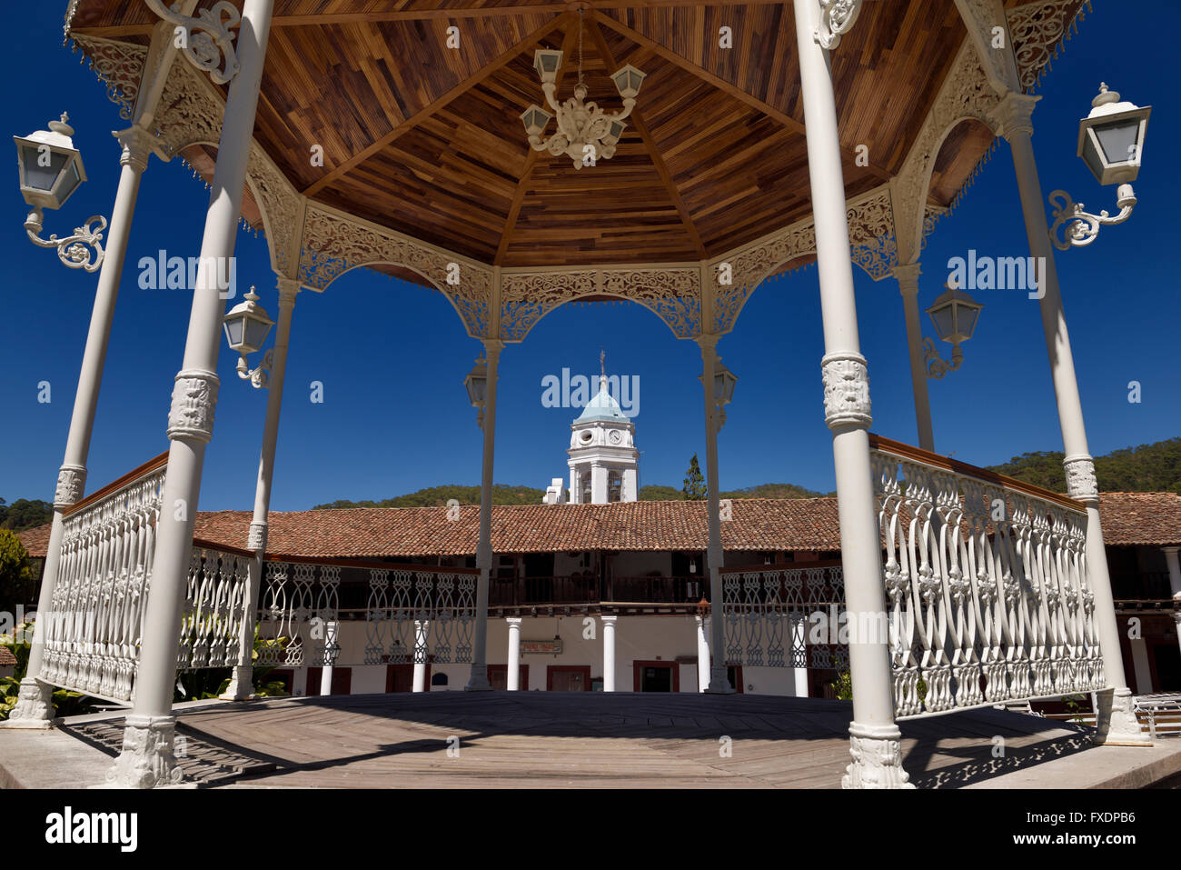 Bandstand in central square of San Sebastian del Oeste Jalisco Mexico with church bell tower - Stock Image