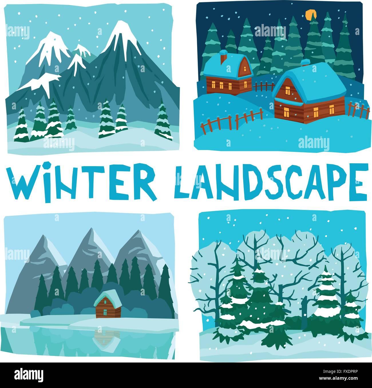 Winter Landscape Digital Graphic Set - Stock Vector