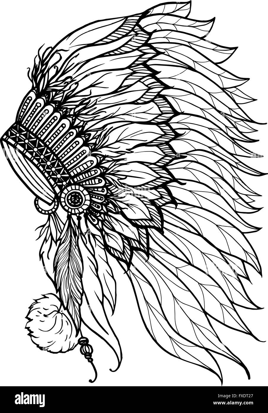 Doodle Headdress For Indian Chief - Stock Image