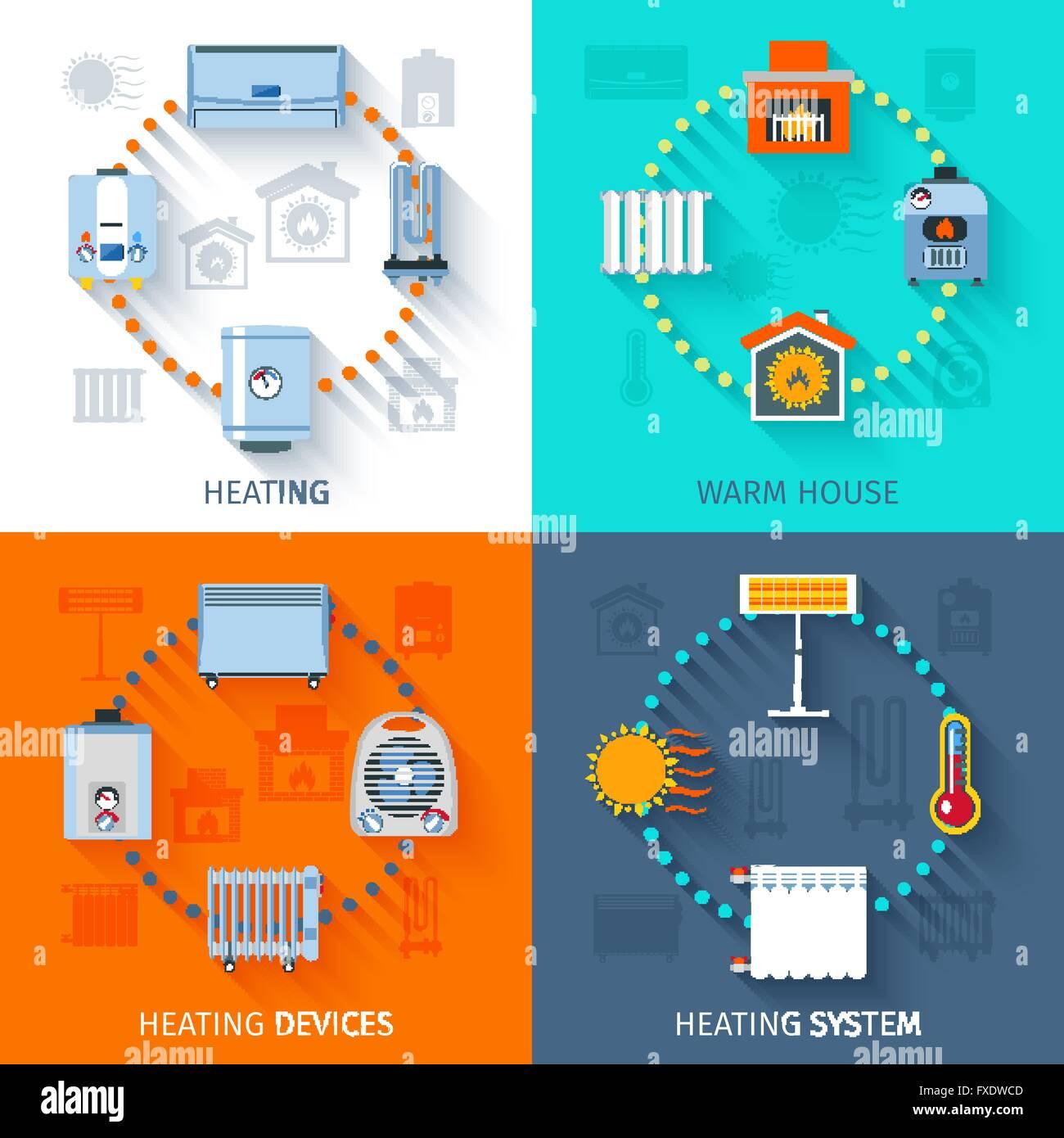 Heating System Icon Set Stock Vector Art & Illustration, Vector ...