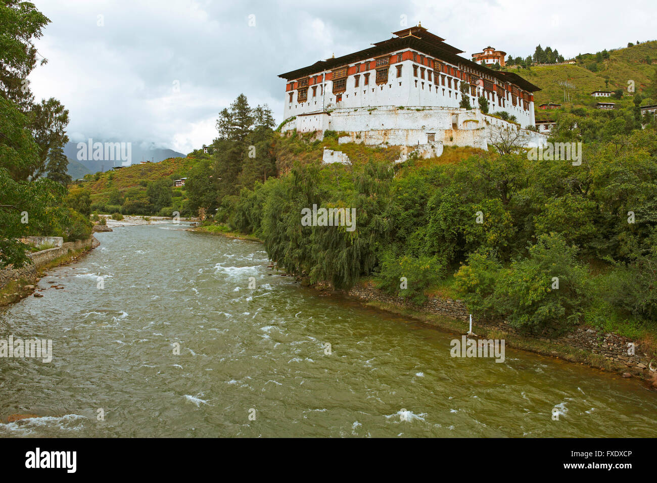 Monastery Paro Dzong at Paro Chhu, Bhutan Stock Photo