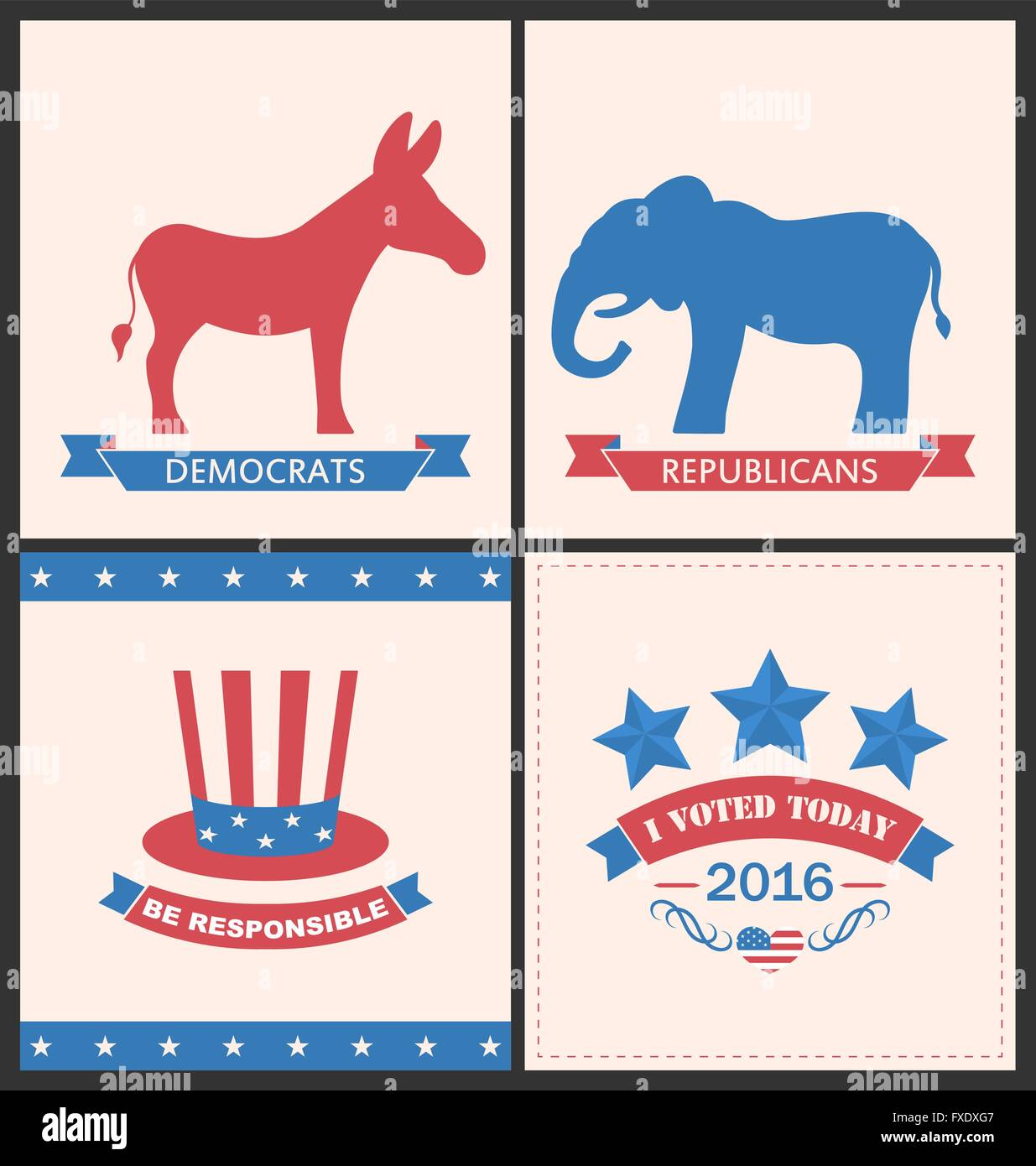 Retro Cards for Advertise of United States Political Parties - Stock Image