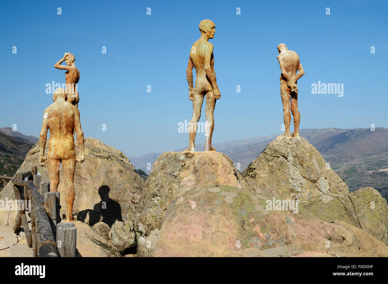 Sculptures: The forgotten civil war and dictatorship. Viewpoint of El Torno. El Torno. River Valley Jerte. Cáceres, - Stock Image