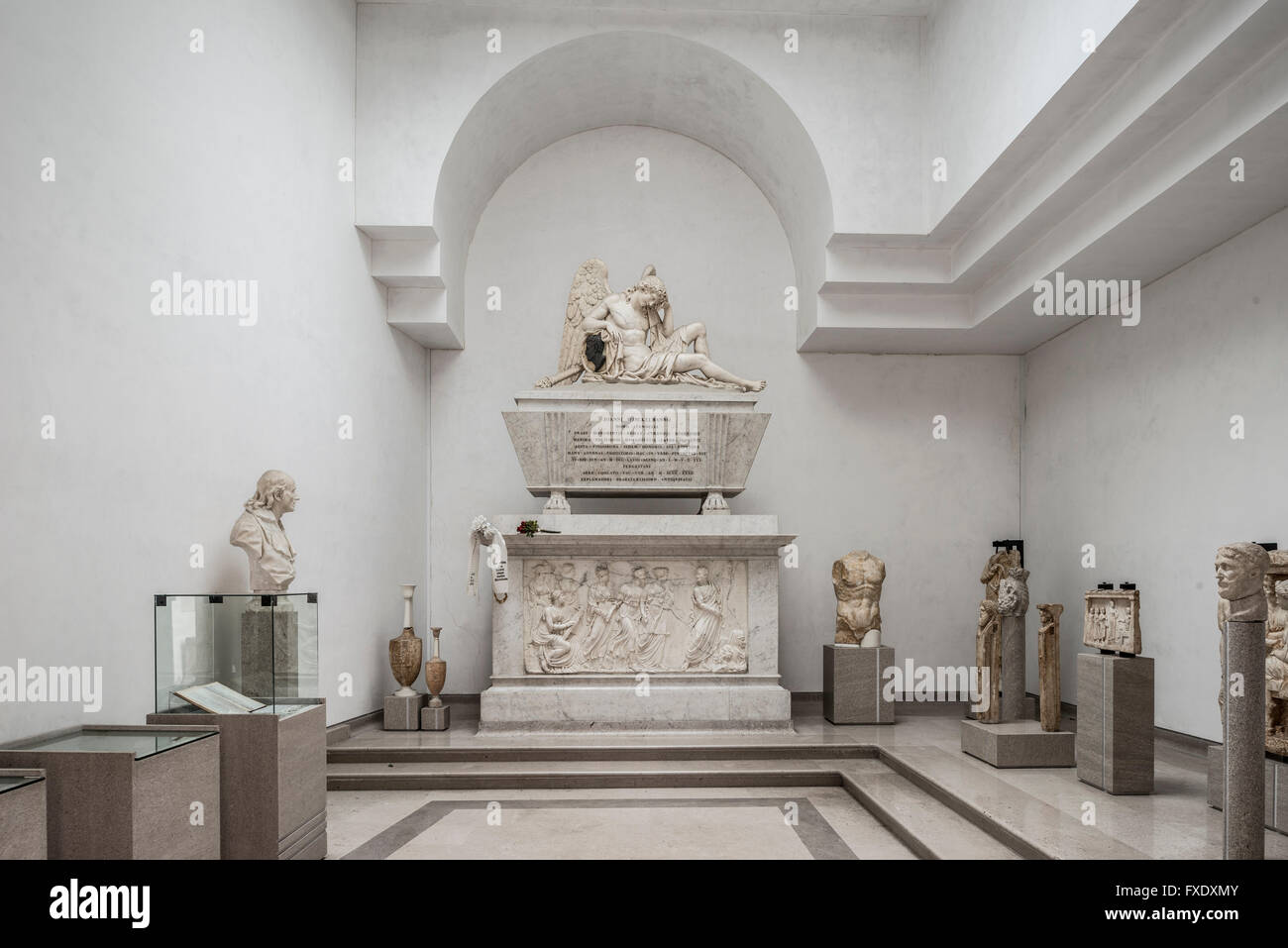 Cenotaph for Johann Joachim Winckelmann, by Antonio Bosa, 1832 Temple in the Lapidario Tergestino, Museum of Roman - Stock Image