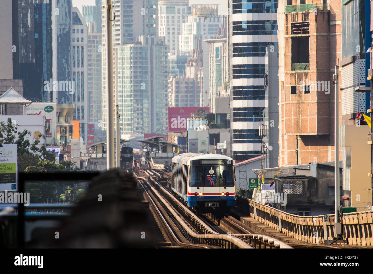 BTS Skytrain in Bangkok, Thailand Stock Photo