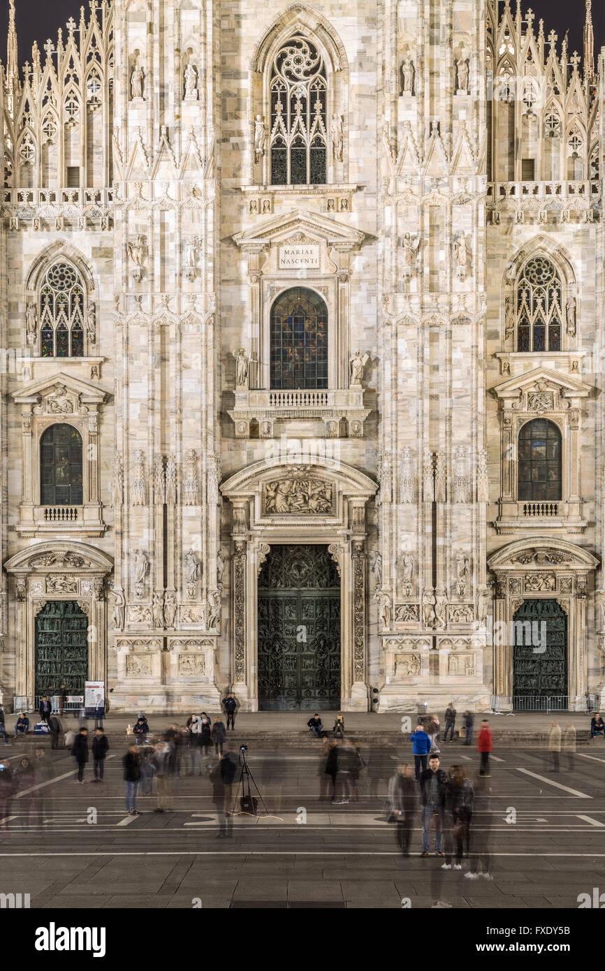 Facade of Milan Cathedral at night, Piazza del Duomo, Milan, Italy - Stock Image