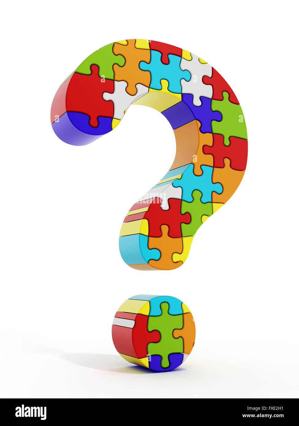 Jigsaw puzzle pieces forming a question mark isolated on white background - Stock Image