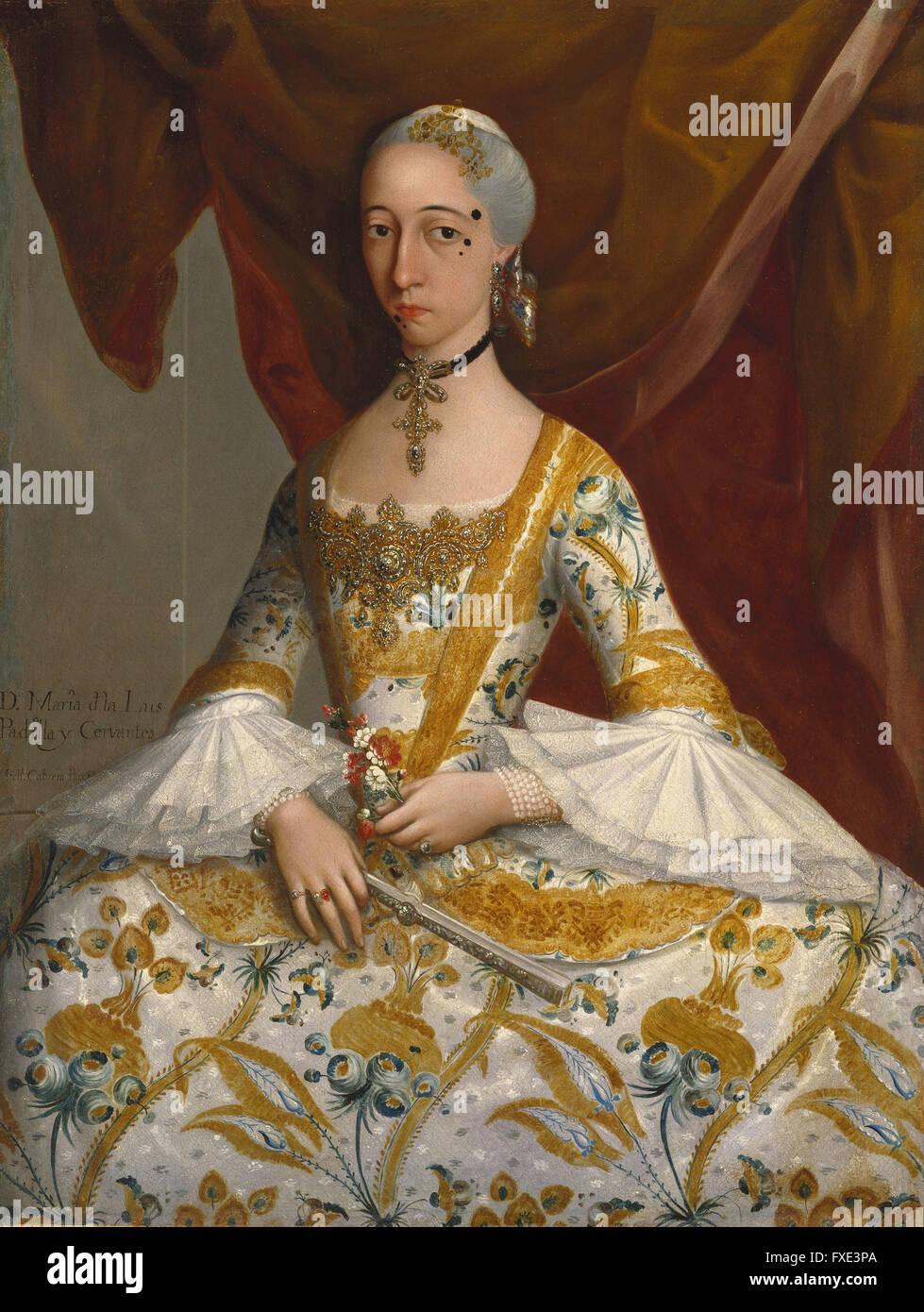 Miguel Cabrera - Doña María de la Luz Padilla y (Gómez de) Cervantes - Stock Photo