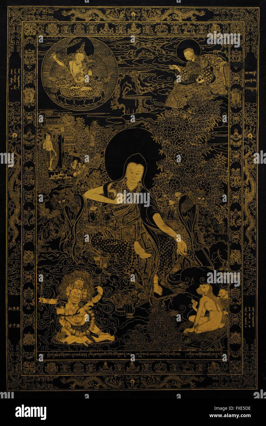 Tibetan spiritual leader Lama Skaya Pandita (1182-1251). Tibet. Early 18th century. Colours on canvas. The State - Stock Image