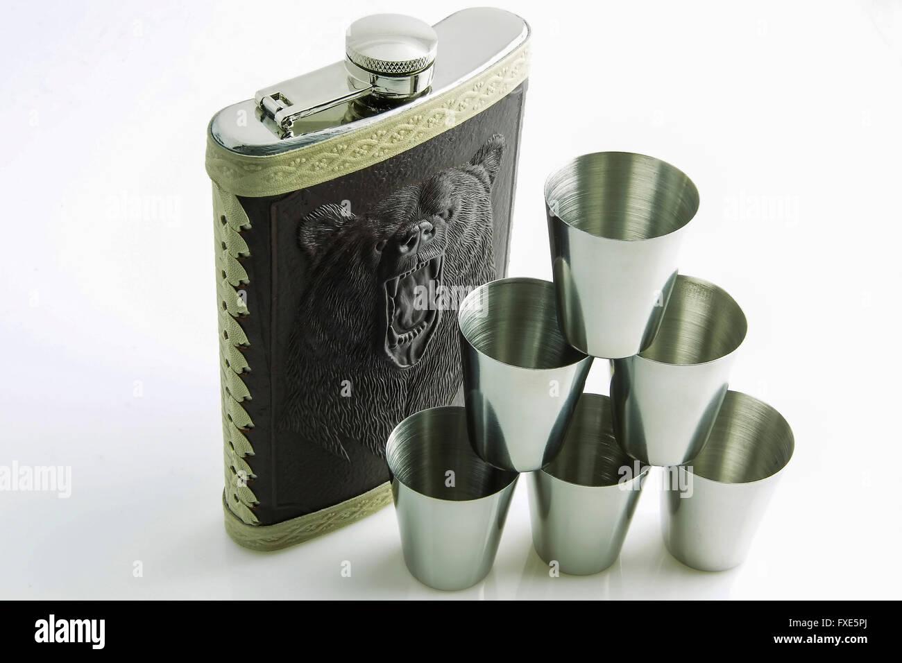 Hip flask, liquor - Stock Image