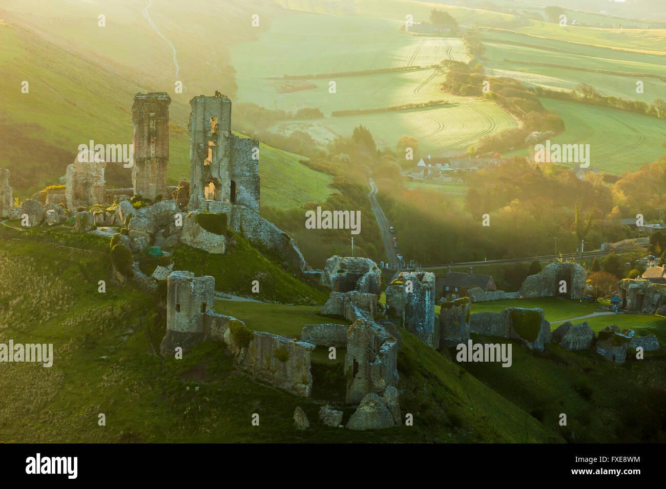Corfe Castle, Dorset, England. - Stock Image