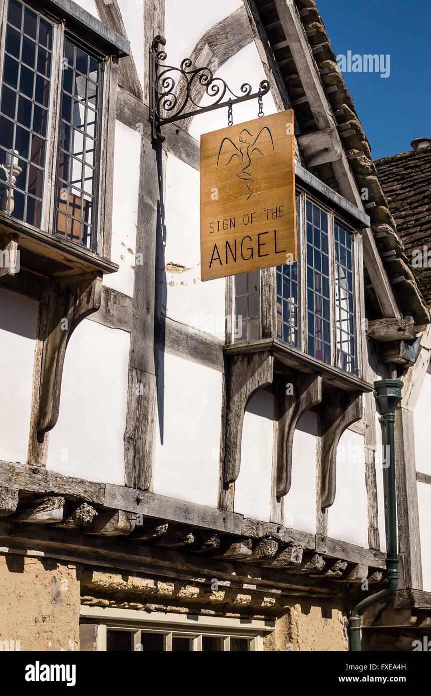 Sign of the Angel hotel and restaurant in Lacock Wiltshire UK - Stock Image