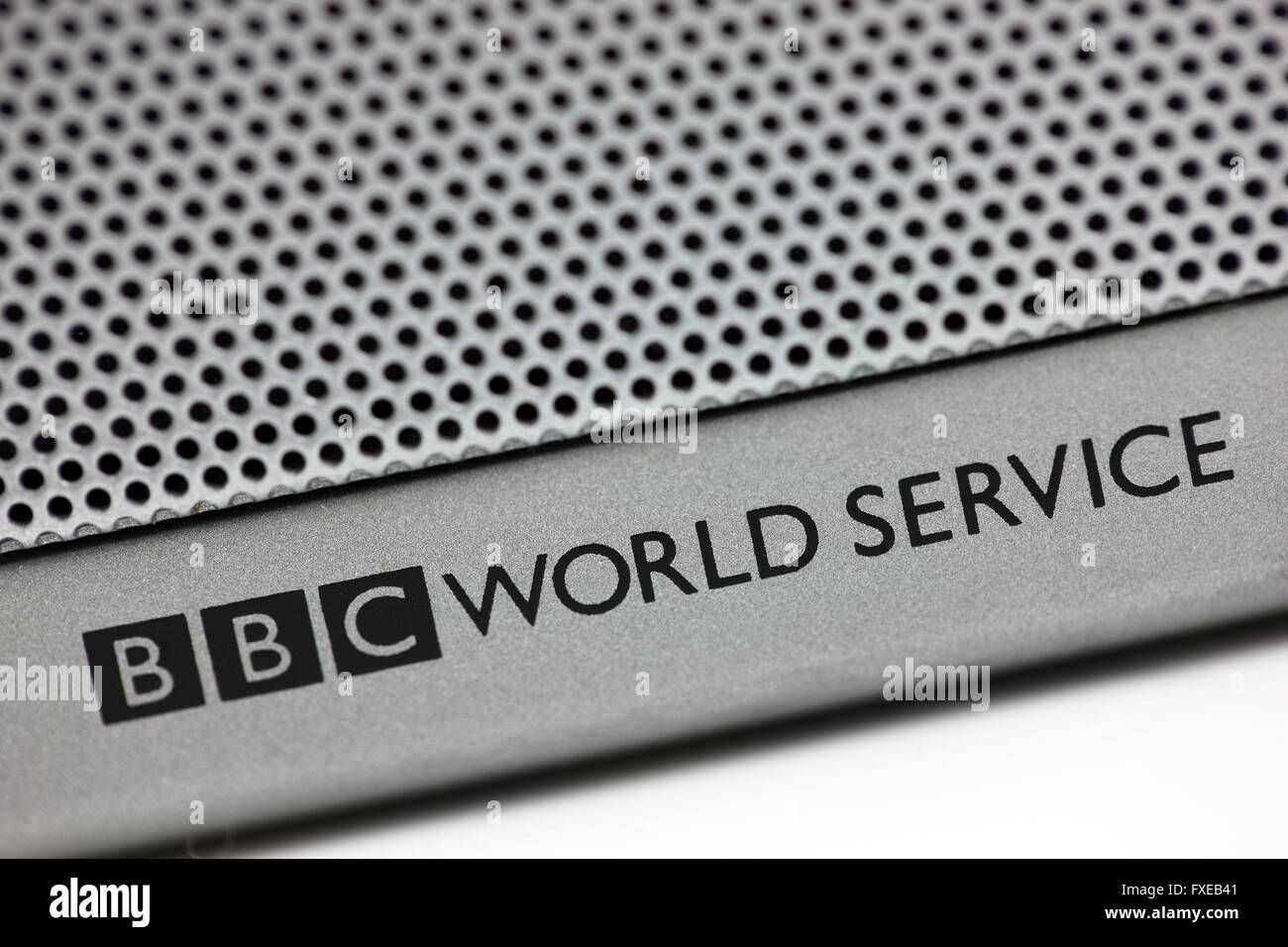 BBC World Service on a  radio transmitter showing it could receive the shortwave communication. - Stock Image