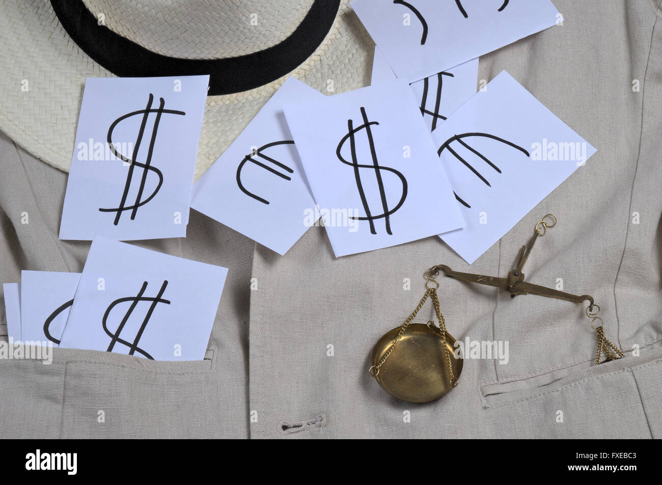 Financial crime, Panama papers scandal theme. Justice, business and finances. - Stock Image