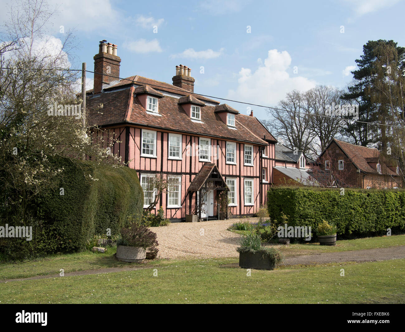 Bradfield Hall, a 17thC grade-II listed timber-framed building in Bradfield Combust, Suffolk, England. - Stock Image
