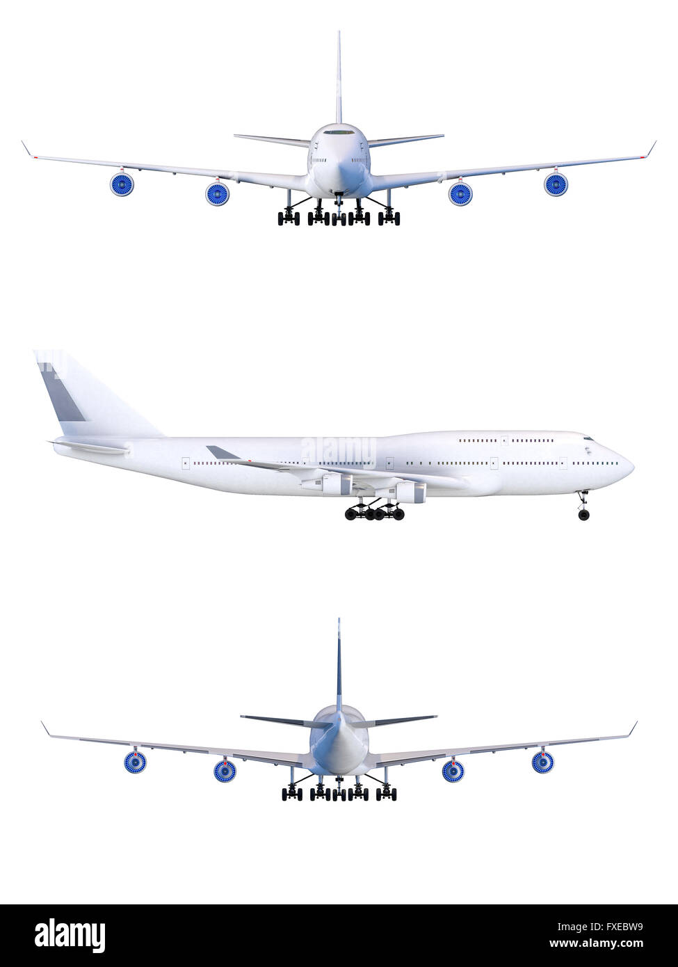 Boeing-747. travel Plane isolated air transport model - Stock Image