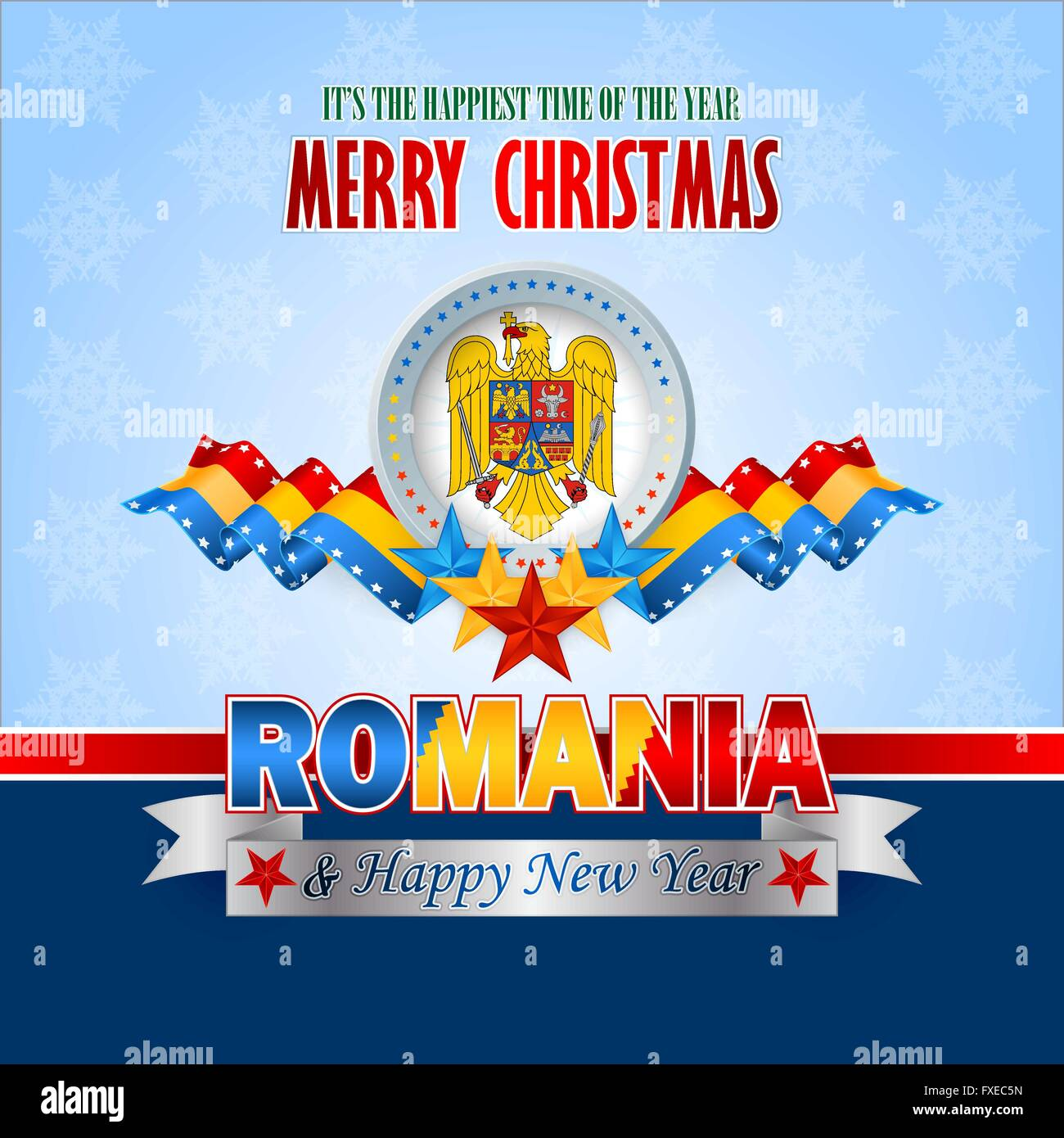 Merry christmas background with blue yellow red stars and coat of merry christmas background with blue yellow red stars and coat of arms on national flag colors for romanian christmas m4hsunfo