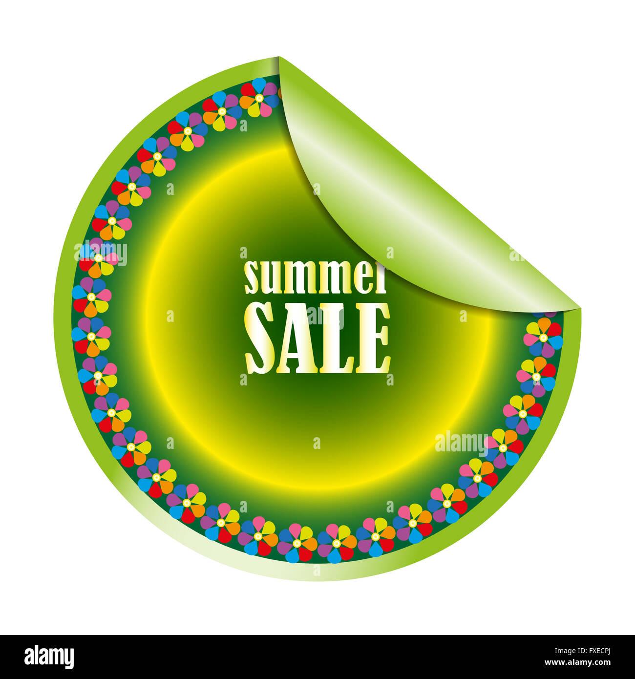 Summer sales round sticker on white background - Stock Image