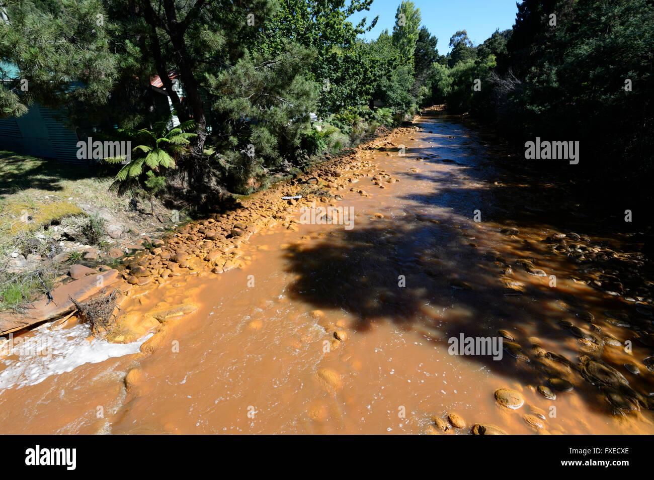 King River is acid-contaminated from mining, Queenstown, Tasmania, TAS, Australia - Stock Image