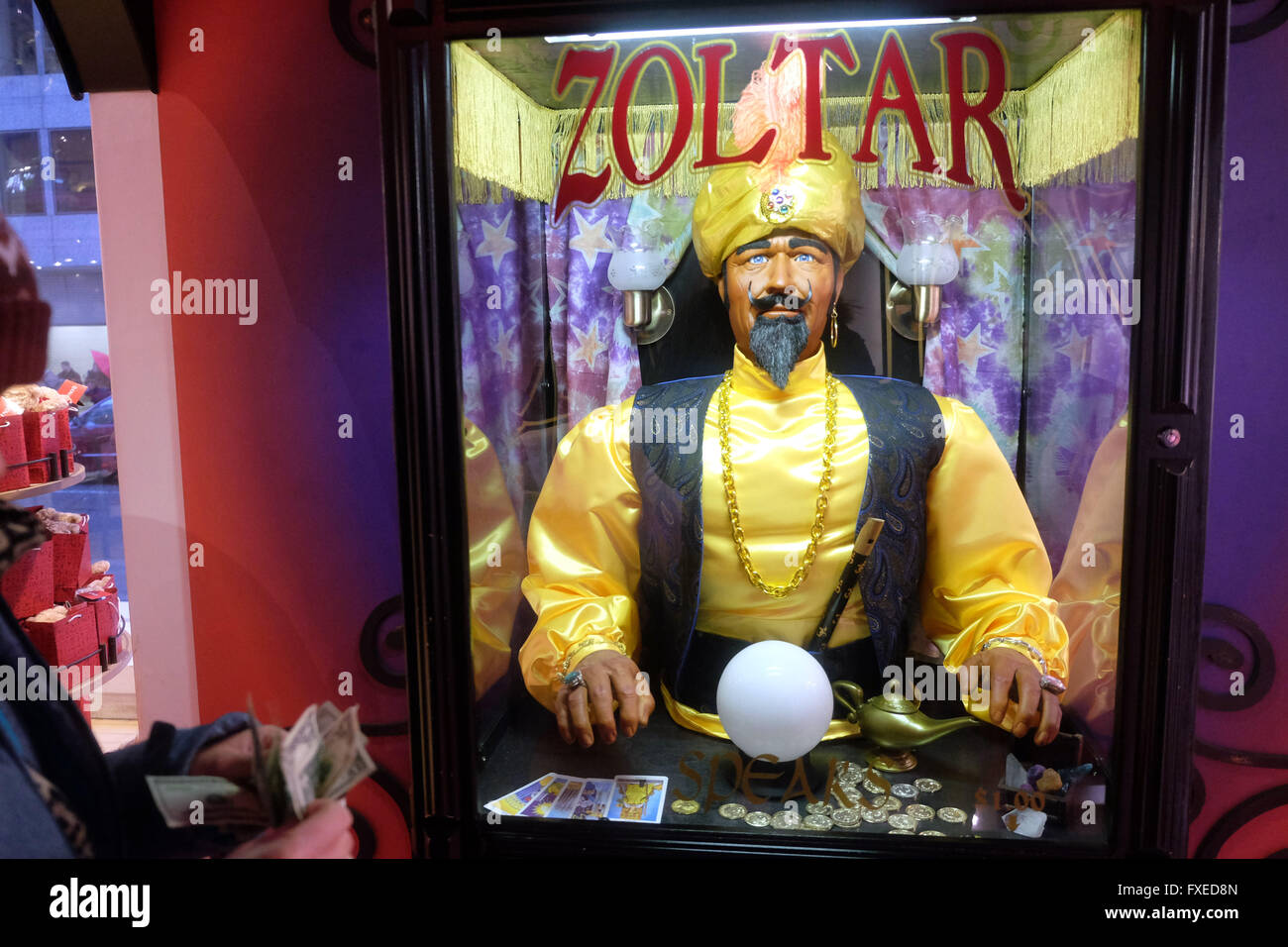 The Zoltar Fortune Telling machine, made famous in the Big movie located in F.A.O. Schwarz toy store New York City, - Stock Image