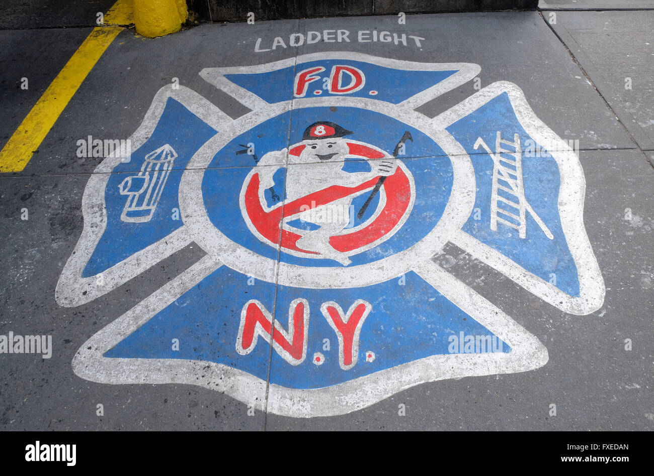A logo at the North Moore Street Fire Station made famous as a Ghostbusters film location in New York City, USA - Stock Image