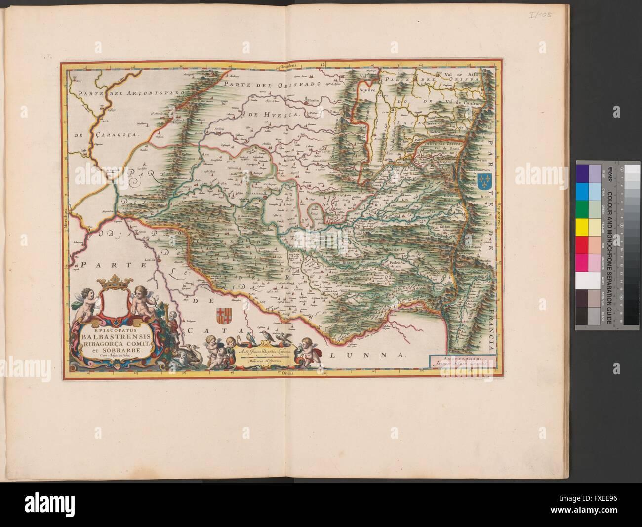 Landkarte der Diözese Barbastro und der Region Ribagorza - Stock Image