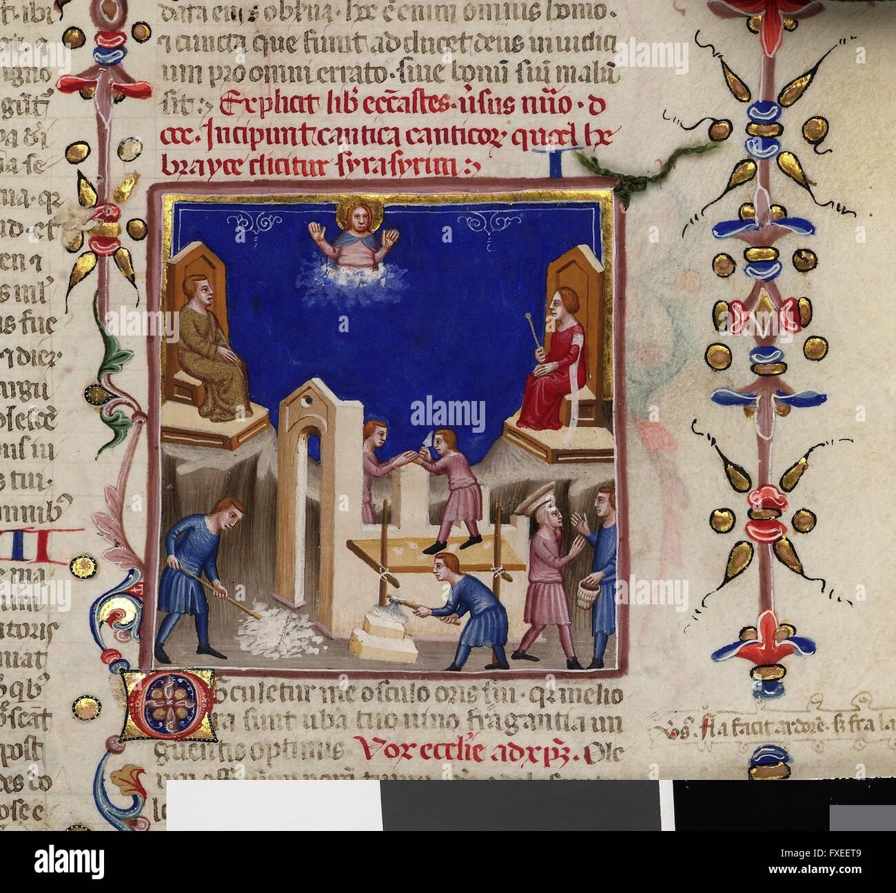Cod. 1191, fol. 231r: Bibel, Neapel, 3. Viertel 14. Jahrhundert: Allegorische Darstellung zum Hohen Lied - Stock Image