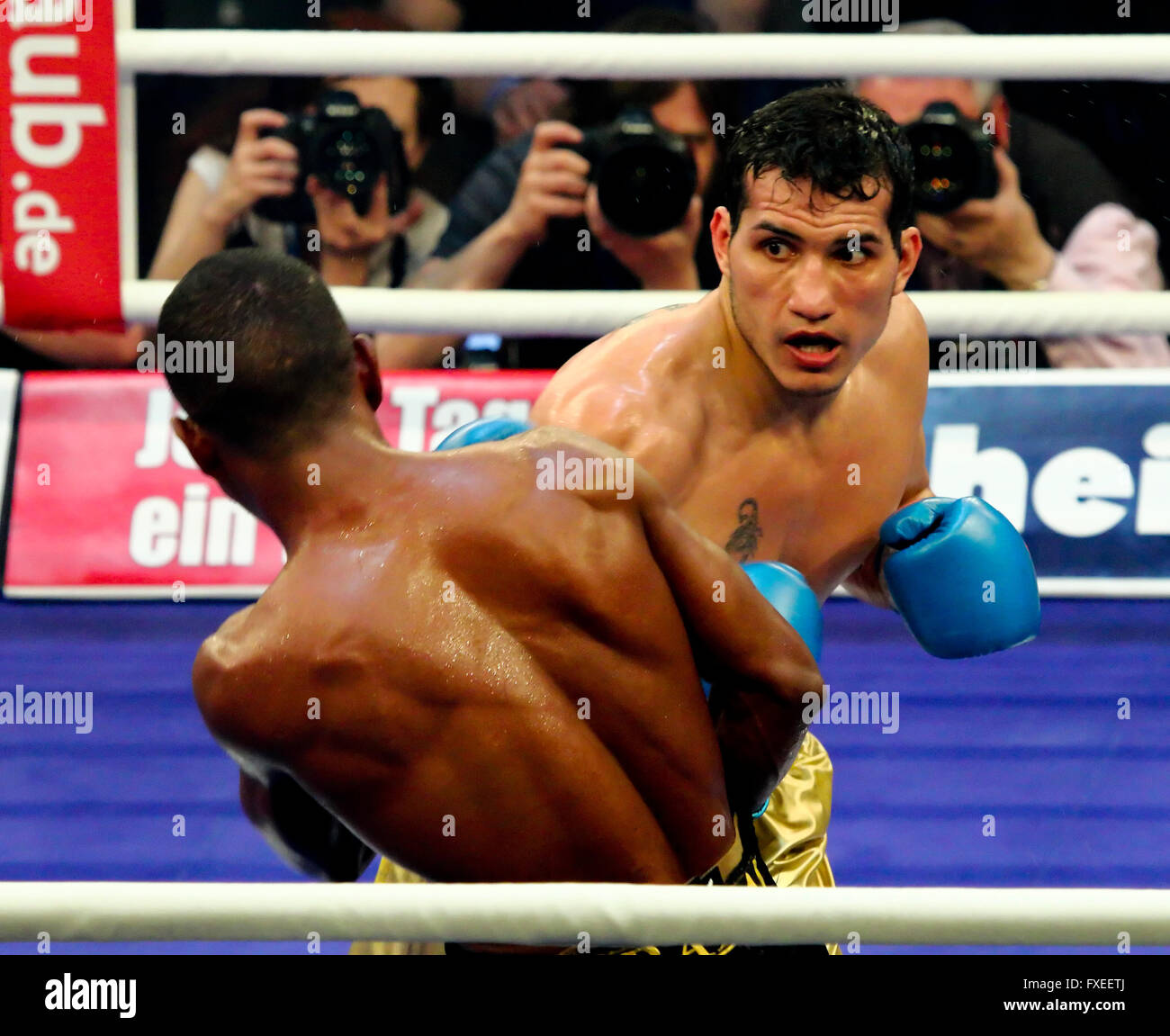 WBA light middleweight title bout between Jack Culcay (Germany)and Jean Carlos Prada (Venezuela), MBS Arena, Potsdam, - Stock Image