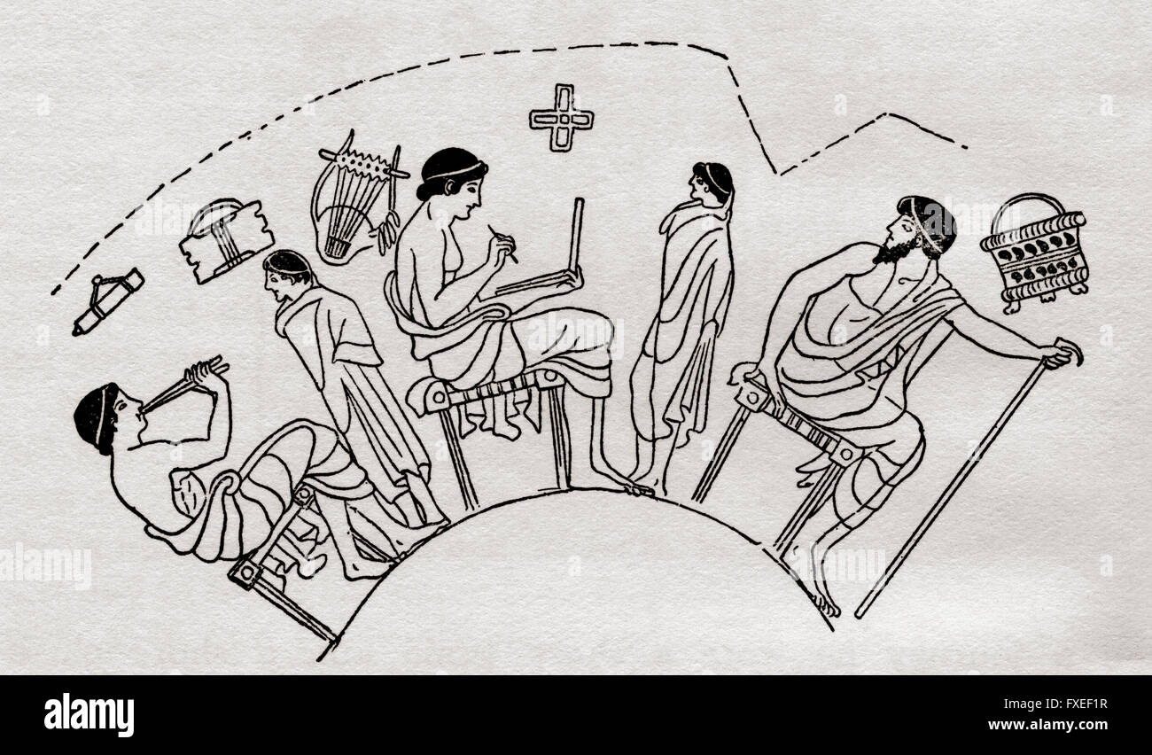A school in Ancient Greece.  Illustration inspired by a painted Greek vase. - Stock Image