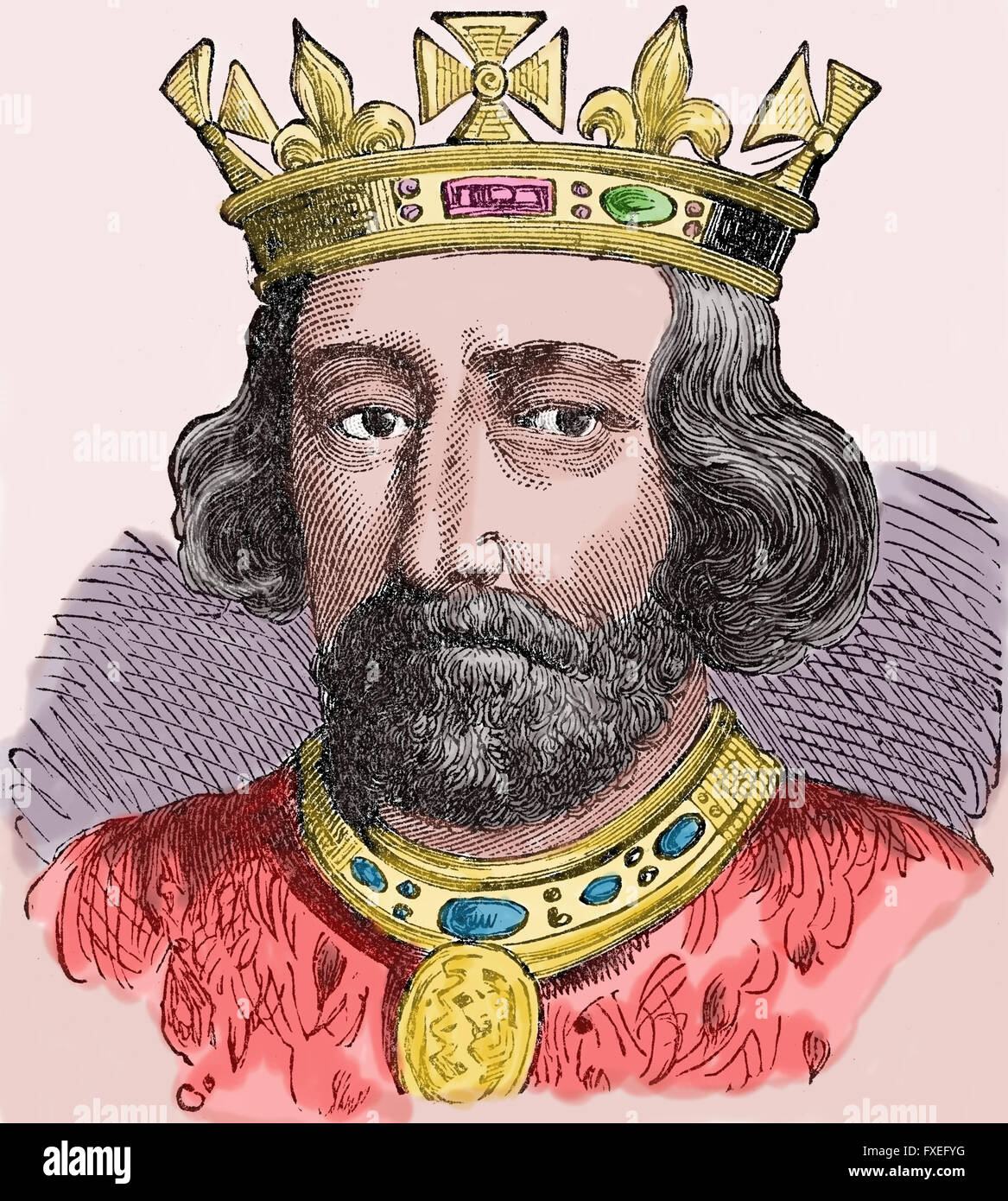 Eduard II (1284-1327) King of England (1307-1327). House of Plantagenet. Engraving, color. - Stock Image