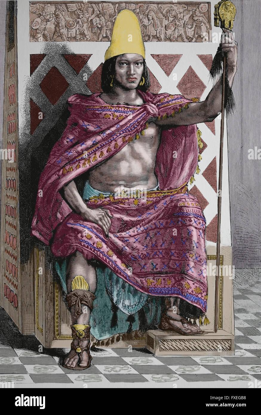 Maya king. Engraving, 19th century. America. Mexico. Color. - Stock Image