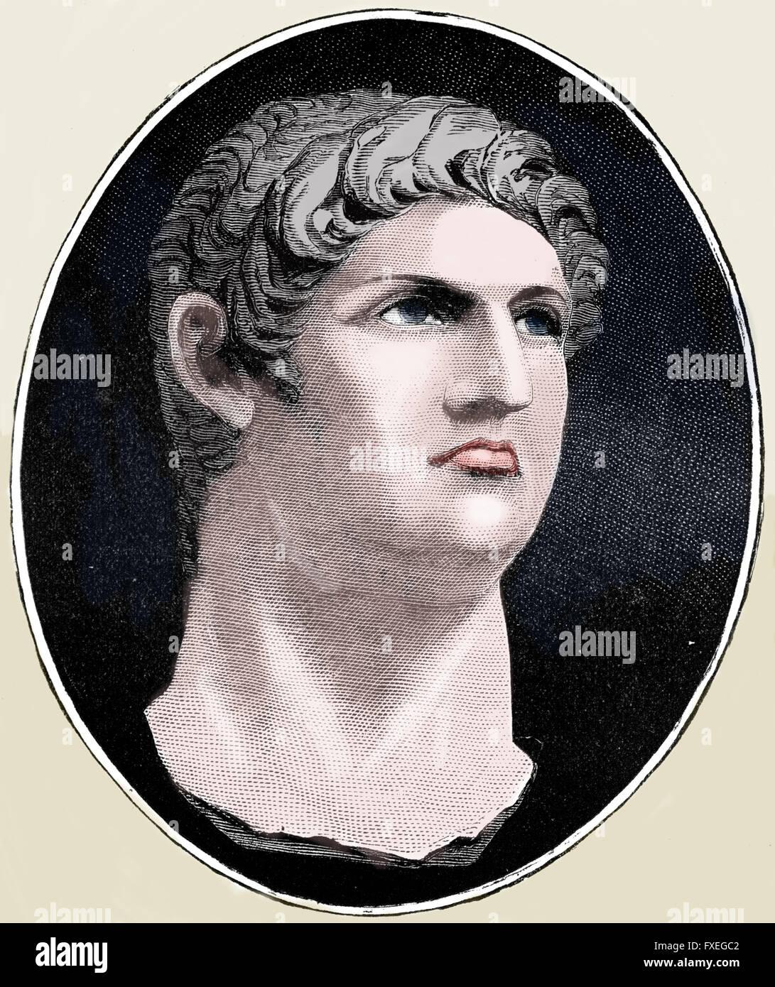Nero (37 AD-68 AD). 5th Emperor of the Roman Empire. Julio-Claudian dynasty. Engraving. Color. - Stock Image