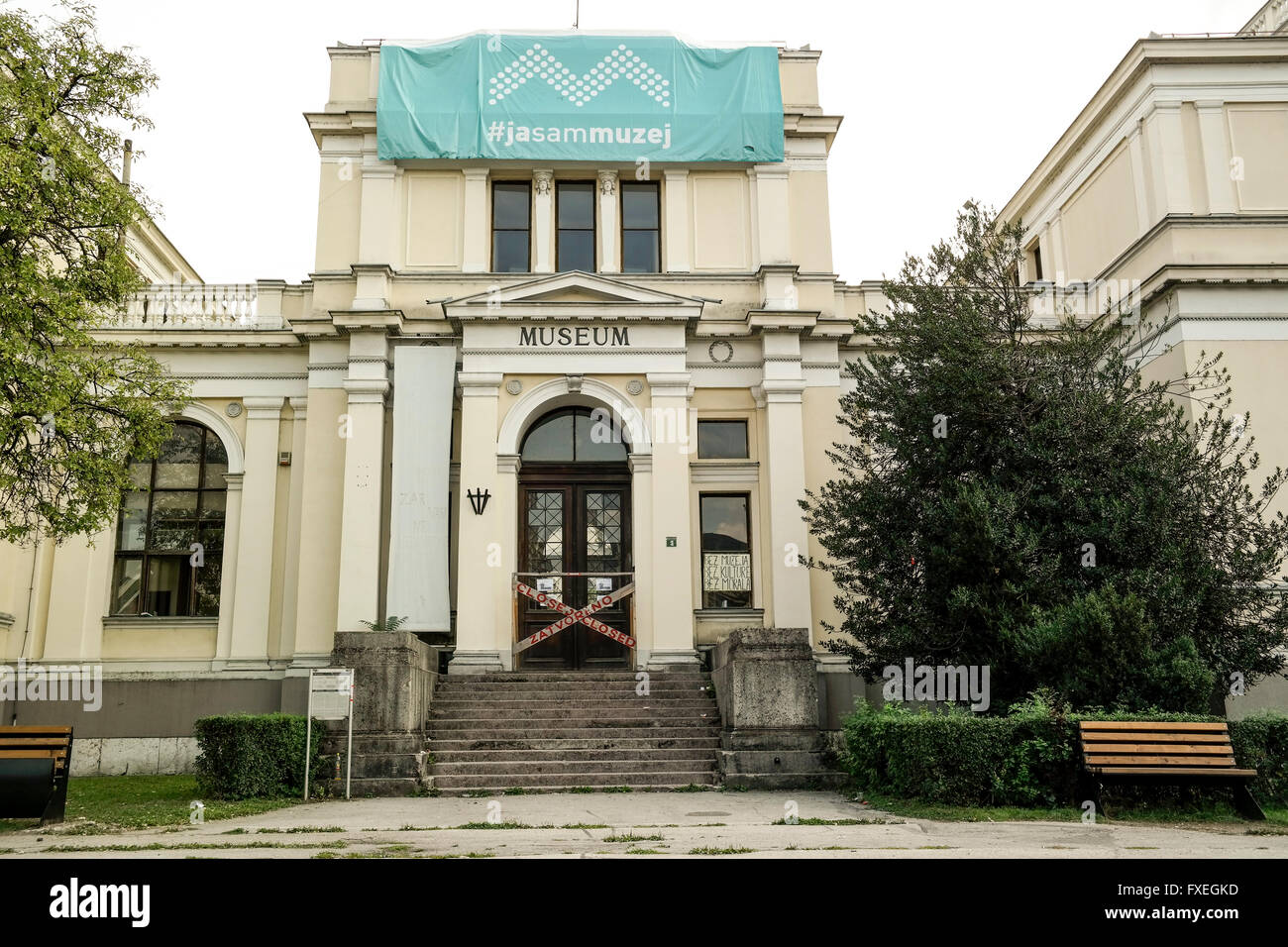 Entrance of the (closed) National Museum of Bosnia and Herzegovina. - Stock Image
