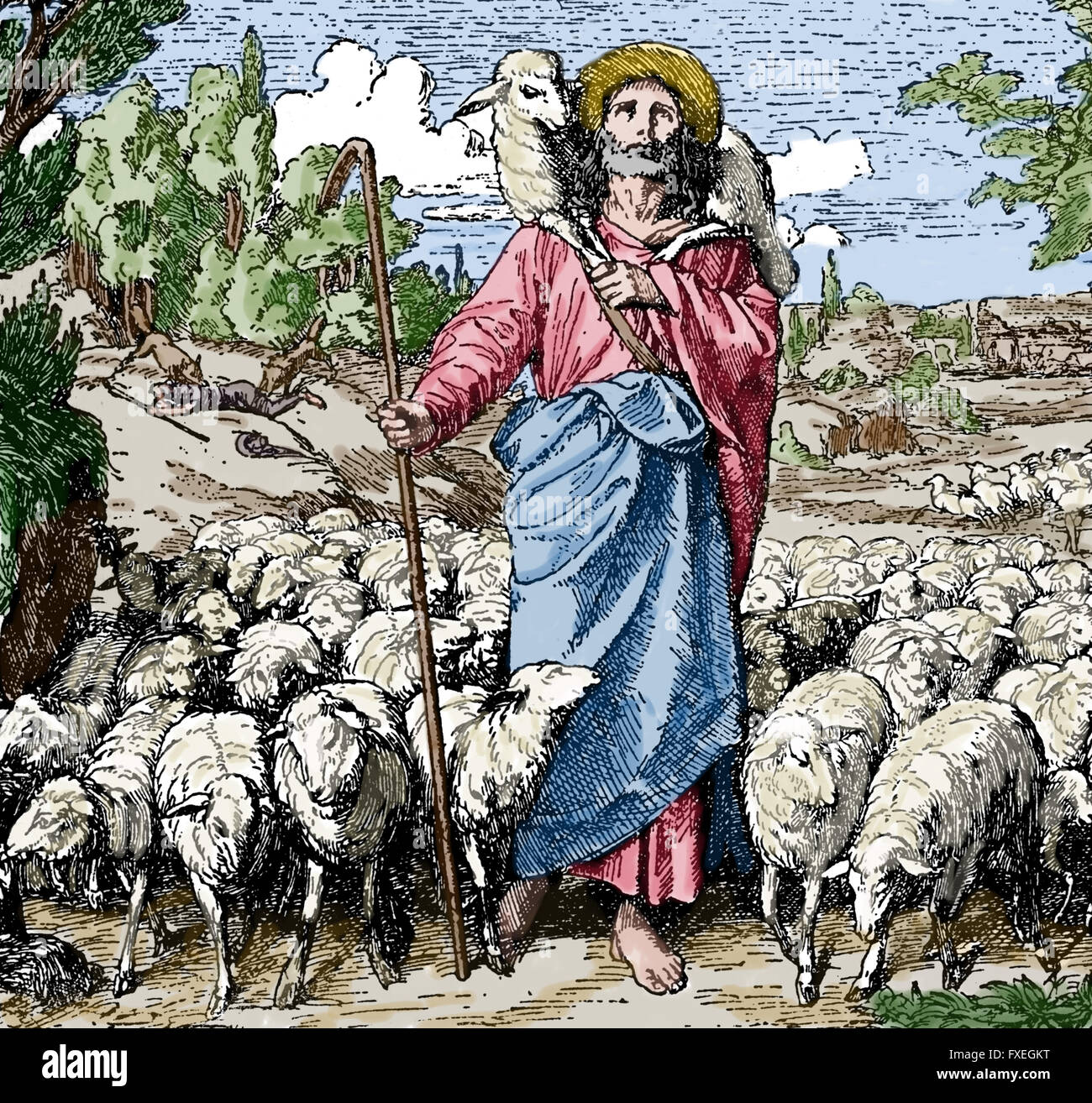 Parable of the Good Shepherd. Engraving, 19th century. Color. - Stock Image