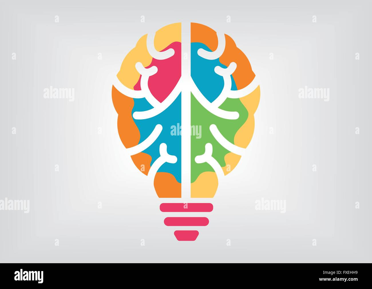 Colorful infographic for creativity and intelligence concept. Icon of brain and light bulb. - Stock Image