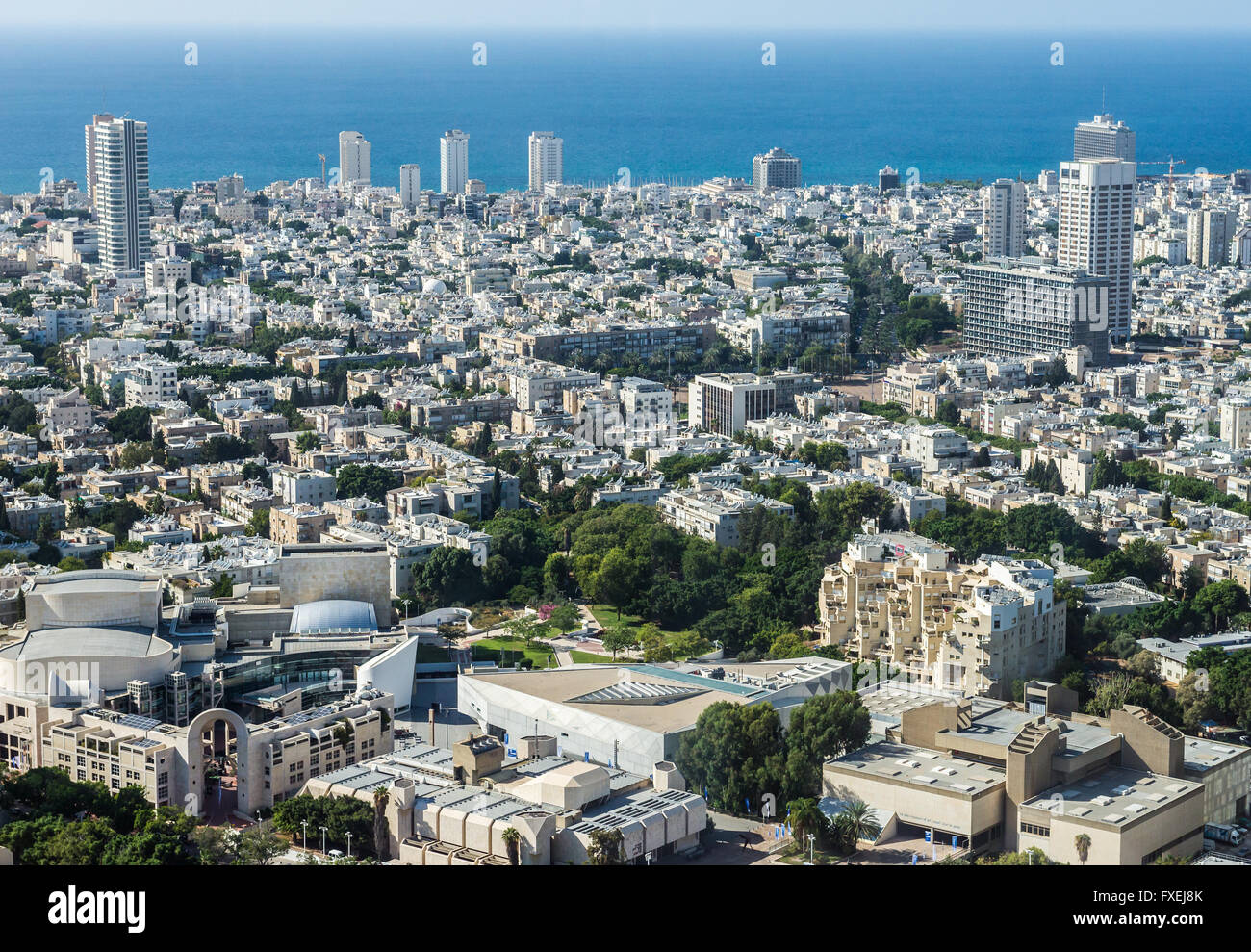 Aerial view from observation deck in Azrieli Center Circular Tower with Tel Aviv Museum of Art, Beit Ariela and - Stock Image