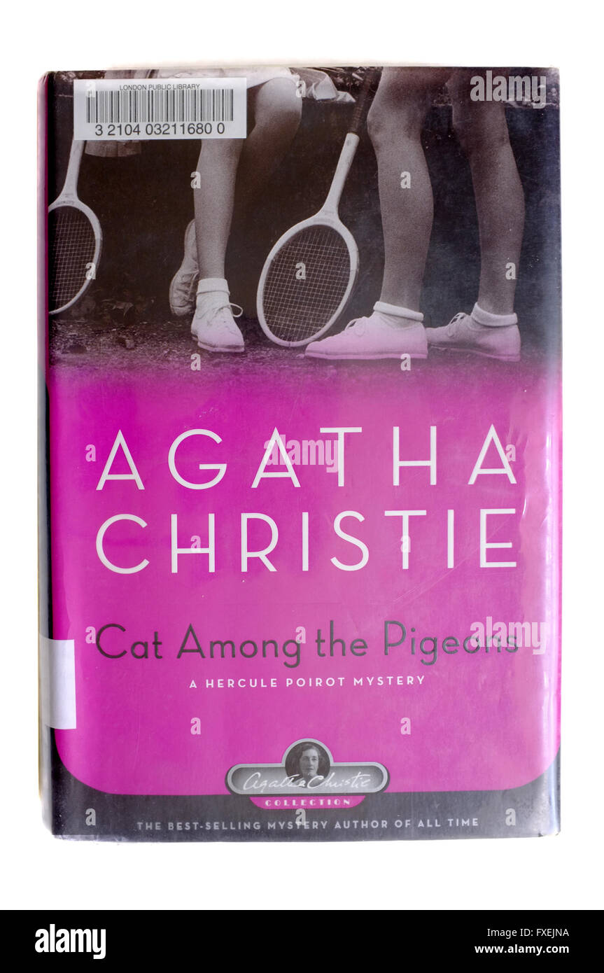 The front cover of Cat Among the Pigeons by Agatha Christie photographed against a white background. - Stock Image