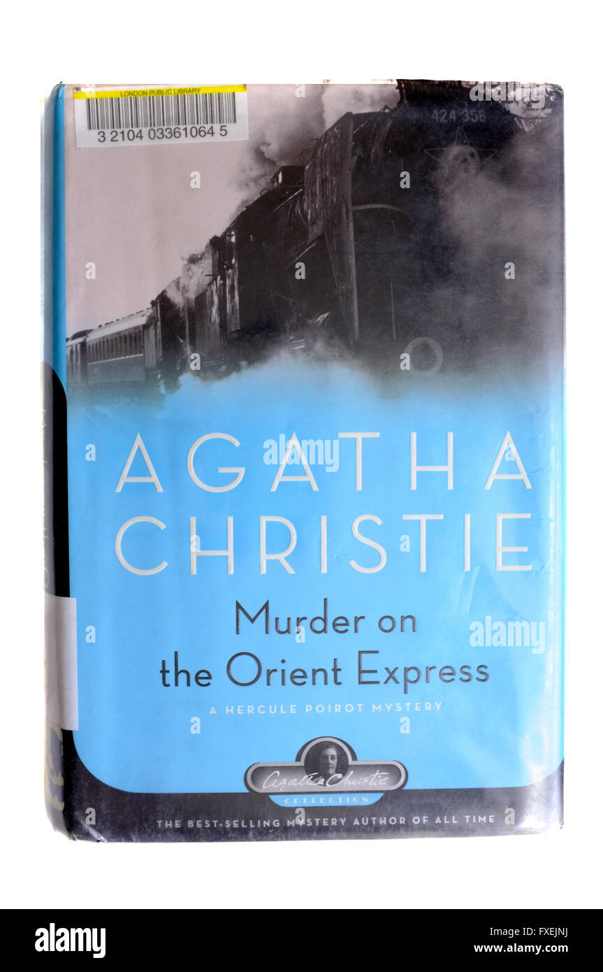 The front cover of Murder on the Orient Express by Agatha Christie photographed against a white background. - Stock Image