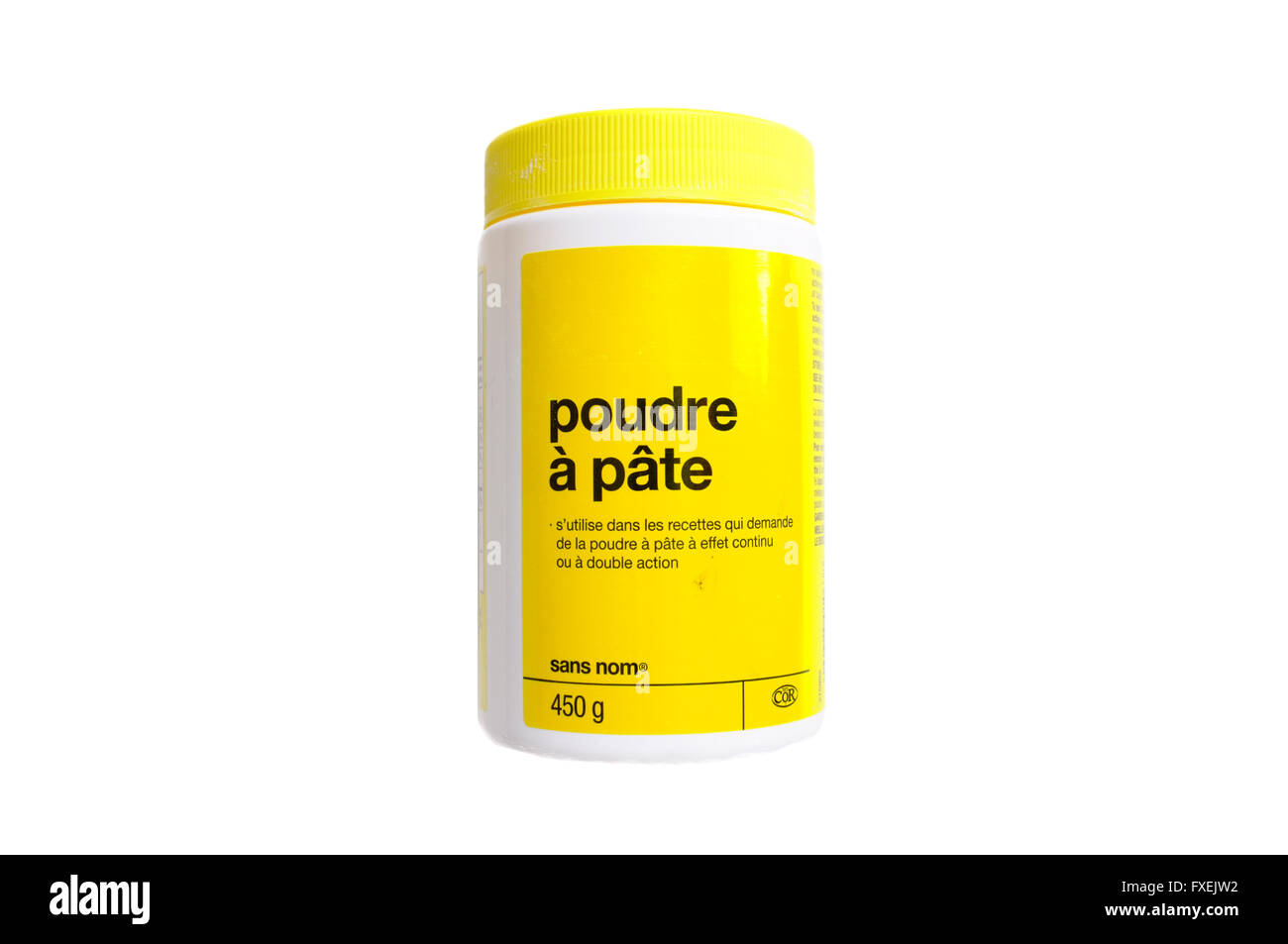 A French labeled bottle of baking powder photographed against a white background. - Stock Image