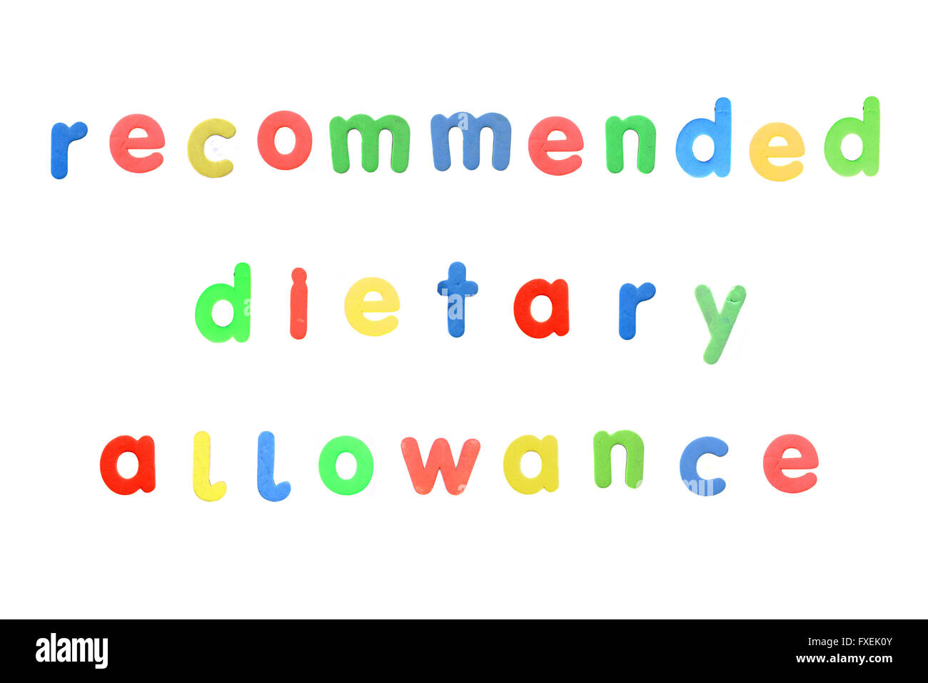 Recommended dietary allowance created from alphabetic fridge magnets photographed against a white background. - Stock Image