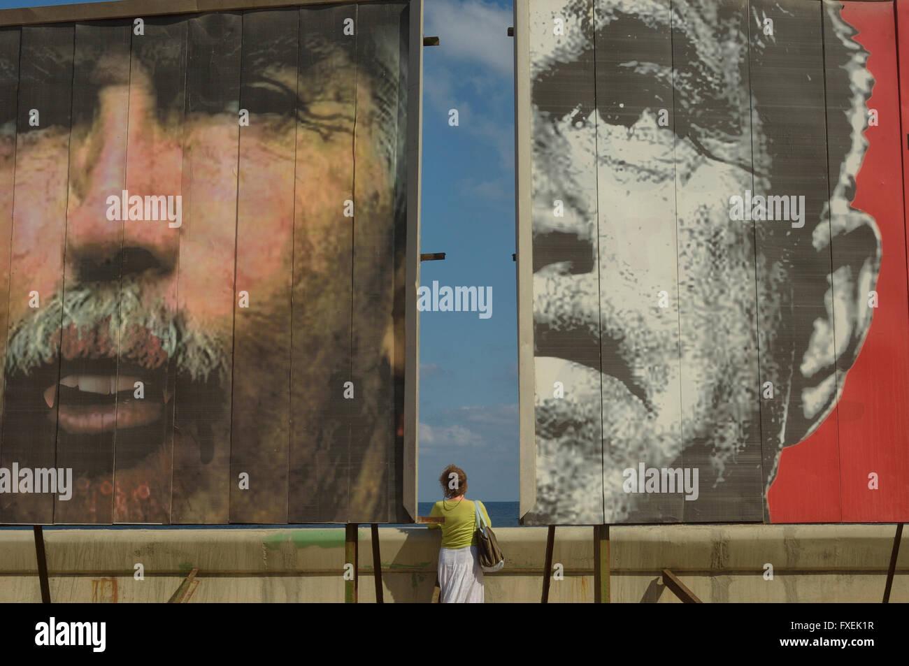 Anti American billboard facing the US Embassy, Malecon. Havana, Cuba, - Stock Image
