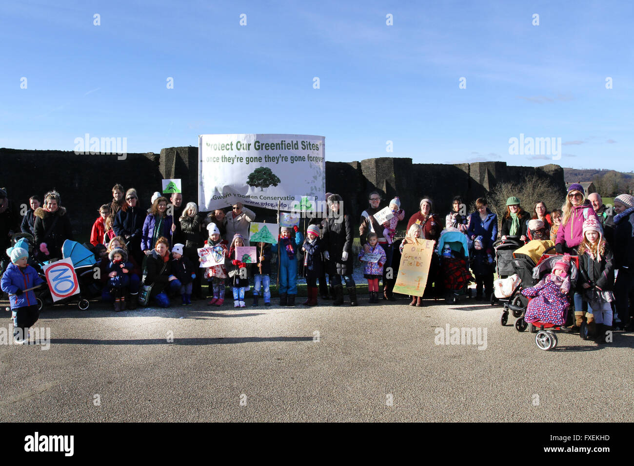 caerphilly greenfield protest - Stock Image