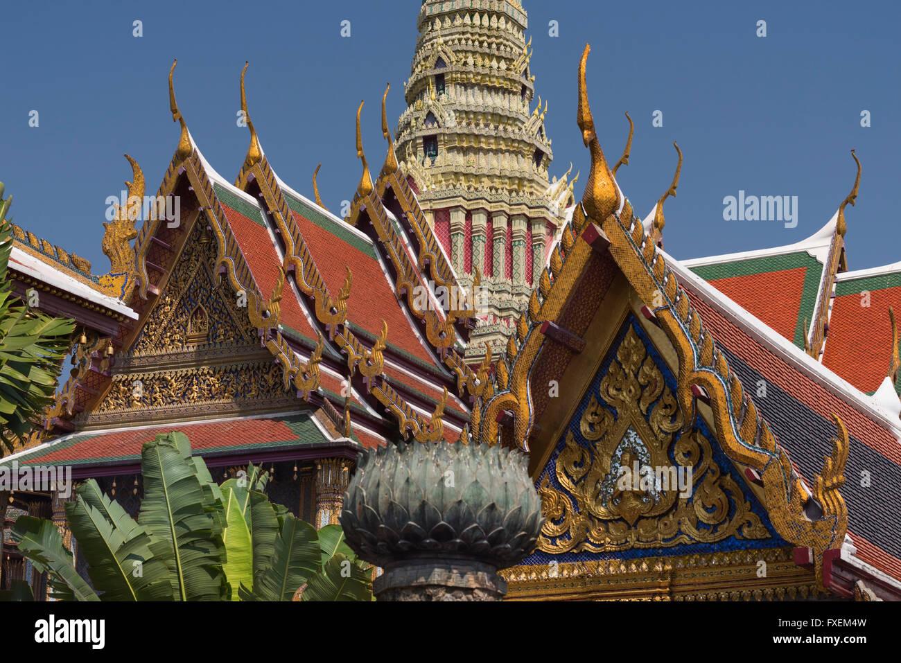 Wat Phra Kaew Grand Palace Bangkok Thailand - Stock Image