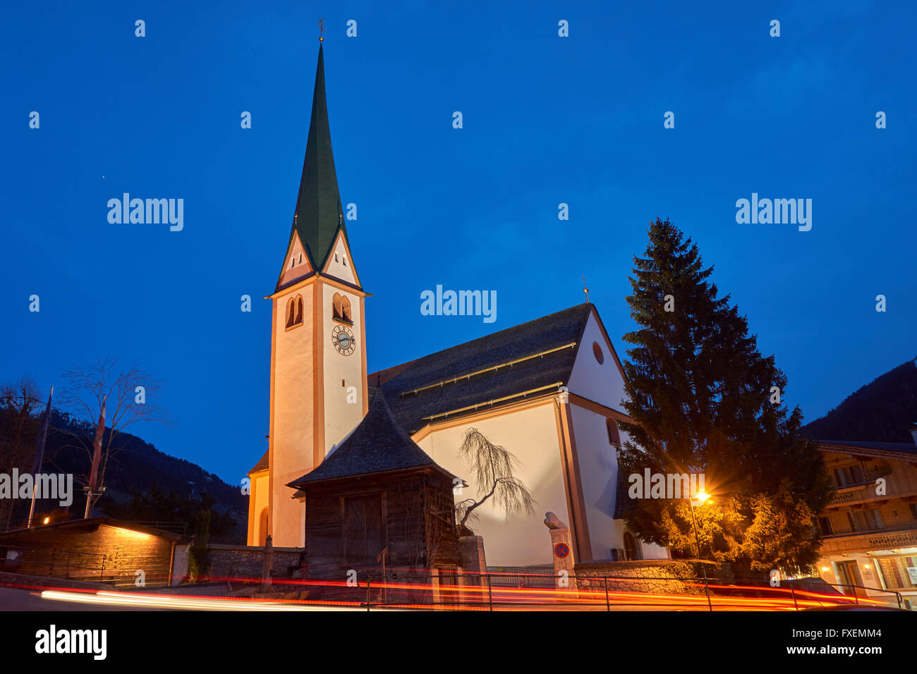 St Oswald's Church in Alpbach village, Tyrol region of Austria. Austria's prettiest village and well known - Stock Image